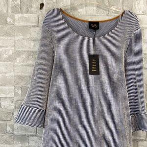 W5 blue & white striped shirt